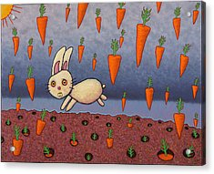 Raining Carrots Acrylic Print by James W Johnson