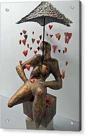 Raining Hearts Acrylic Print by Dedo Cristina