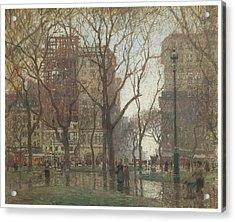 Rainy Day Madison Square New York Acrylic Print by Paul Cornoyer