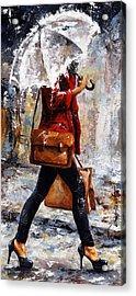 Rainy Day - Woman Of New York 17 Acrylic Print by Emerico Imre Toth