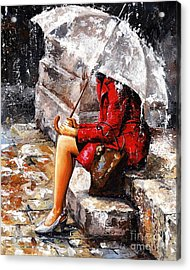 Rainy Day - Woman Of New York Acrylic Print by Emerico Imre Toth