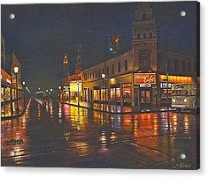 Rainy Night-117th And Detroit     Acrylic Print by Paul Krapf