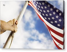 Raising An American Flag Acrylic Print by Chris and Kate Knorr