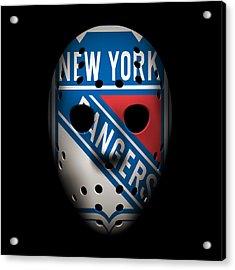 Rangers Goalie Mask Acrylic Print by Joe Hamilton