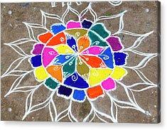 Rangoli Design Or Kollam Or Muggu Acrylic Print by Peter Adams
