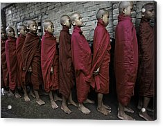 Rangoon Monks 1 Acrylic Print by David Longstreath