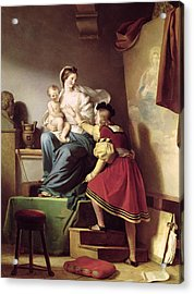 Raphael Adjusting His Model's Pose For His Painting Of The Virgin And Child  Acrylic Print by Alexandre Evariste Fragonard