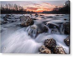 Rapids On Sunset Acrylic Print by Davorin Mance