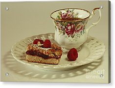 Raspberry Almond Square And Herbal Tea  Acrylic Print by Inspired Nature Photography Fine Art Photography