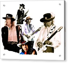 Rave On  Stevie Ray Vaughan Acrylic Print by Iconic Images Art Gallery David Pucciarelli