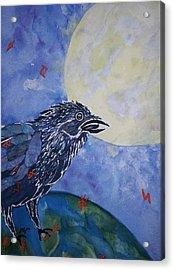 Raven Speak Acrylic Print by Ellen Levinson