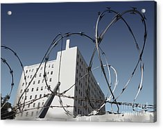 Razor Wire In Skid Row Acrylic Print by Gregory Dyer