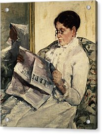 Reading Le Figaro Acrylic Print by Mary Stevenson Cassatt