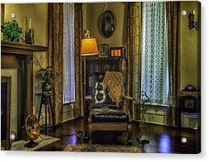 Reading Nook With Leather Chair Acrylic Print by Lynn Palmer