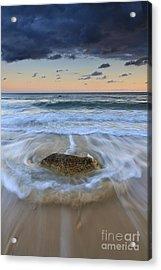 Receding Wave Stormy Seascape Acrylic Print by Katherine Gendreau
