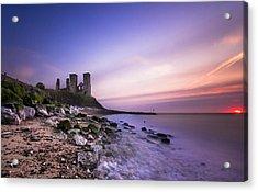 Reculver Sunset Acrylic Print by Ian Hufton