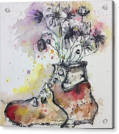 Recycle Shoes Acrylic Print by Isaac Alcantar