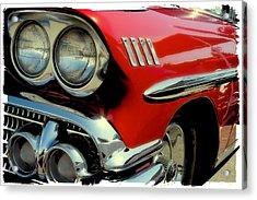 Red 1958 Chevrolet Impala Acrylic Print by David Patterson