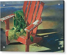 Red Adirondack Chair Acrylic Print by Mia Tavonatti