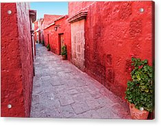 Red Alley In Monastery Acrylic Print by Jess Kraft