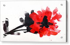 Red And Black Floral II Acrylic Print by Patricia Awapara