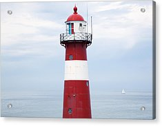 Red And White Lighthouse Acrylic Print by Peter Zoeller