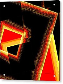 Red And Yellow Geometric Design Acrylic Print by Mario Perez