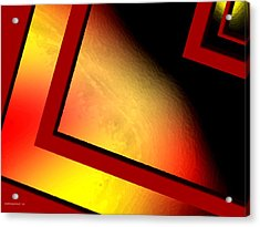 Red Angle With Yellow Acrylic Print by Mario Perez