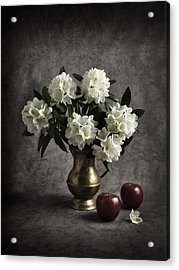 Red Apples And White Rhododendron Acrylic Print by Jitka Unverdorben