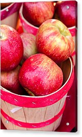 Red Apples In Baskets At Farmers Market Acrylic Print by Teri Virbickis