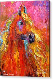 Red Arabian Horse Impressionistic Painting Acrylic Print by Svetlana Novikova