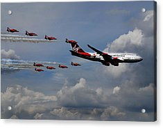 Red Arrows And Lady Penelope Acrylic Print by Mark Rogan