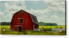 Red Barn In Ohio Acrylic Print by Dan Sproul