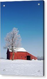 Red Barn In Snow Acrylic Print by Jim West