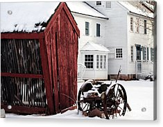 Red Barn In Winter Acrylic Print by John Rizzuto