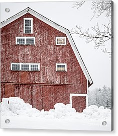 Red Barn Whiteout Acrylic Print by Edward Fielding