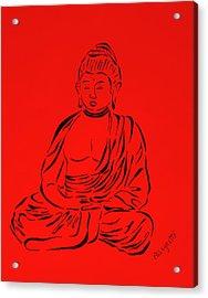 Red Buddha Acrylic Print by Pamela Allegretto