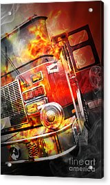 Red Burning Fire Rescue Truck With Flames Acrylic Print by Angela Waye