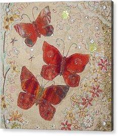 Red Butterflies Acrylic Print by Hazel Millington