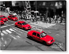 Red Cabs On Time Square Acrylic Print by Hannes Cmarits