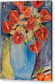 Red Calla Lilies Acrylic Print by Caroline Street