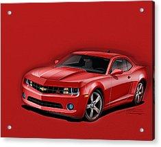 Red Camaro Acrylic Print by Etienne Carignan
