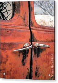 Red Car Door Acrylic Print by Diana Shay Diehl
