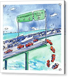 Red Cars Drop Off A Bridge Under A Sign That Says Acrylic Print by Michael Crawford