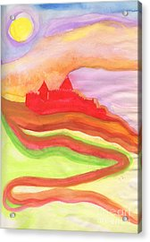 Red Castle Acrylic Print by First Star Art