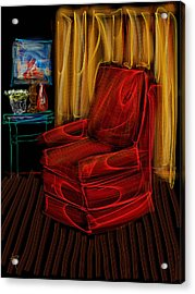 Red Chair At Night Acrylic Print by Russell Pierce