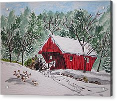 Red Covered Bridge Christmas Acrylic Print by Kathy Marrs Chandler