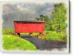 Red Covered Bridge With Car Acrylic Print by Dan Friend