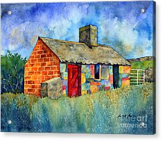 Red Door Cottage Acrylic Print by Hailey E Herrera