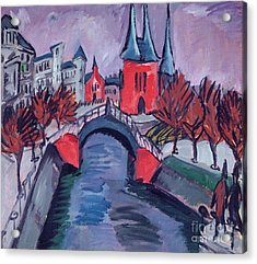 Red Elisabeth Riverbank Berlin Acrylic Print by Ernst Ludwig Kirchner